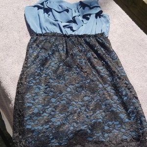 Black and blue mini cocktail dress